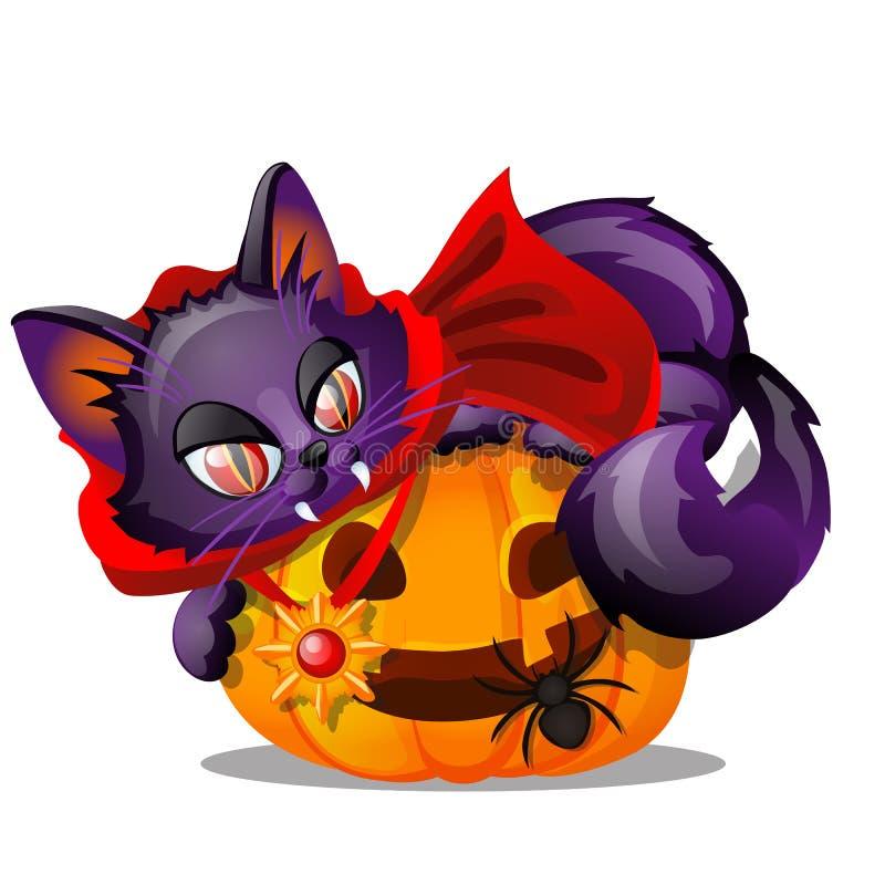 Gato púrpura con el colmillo descubierto que miente en la Jack-o-linterna, araña negra aislada en el fondo blanco Bosquejo para e ilustración del vector