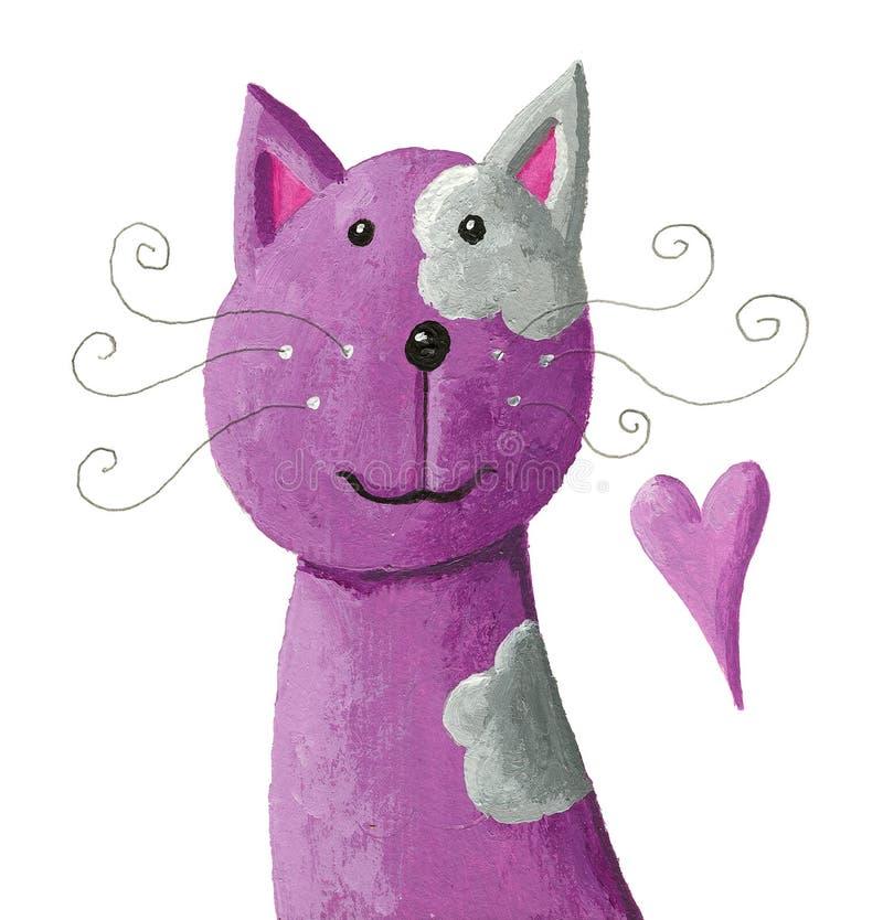 Gato púrpura lindo ilustración del vector