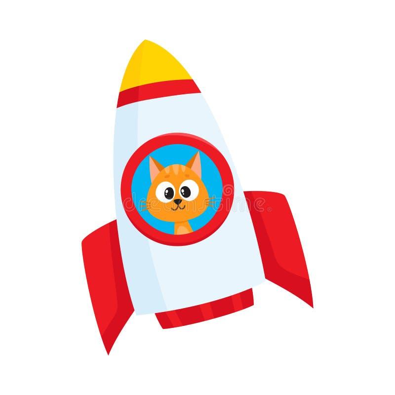 Gato pequeno bonito, astronauta do gatinho, voo do caráter do astronauta no foguete ilustração royalty free