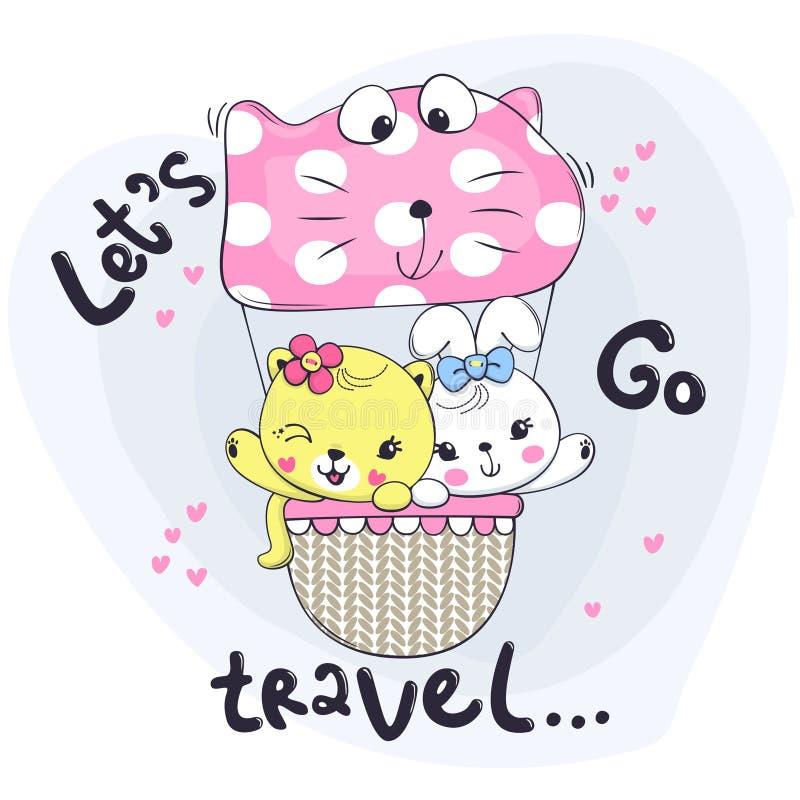 Gato pequeno bonito e coelho no balão de ar quente do às bolinhas do rosa fotos de stock royalty free