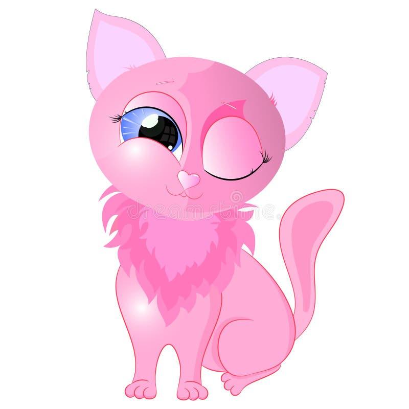 Gato pequeno cor-de-rosa ilustração stock