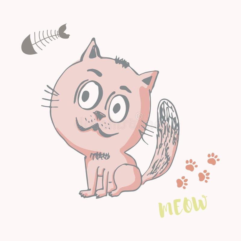Gato pequeno engraçado tirado mão, estilo do esboço para crianças ilustração do vetor