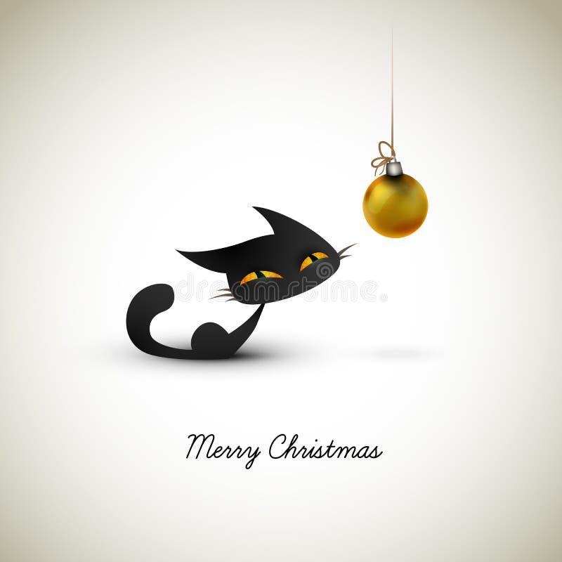 Gato pequeno excitado sobre o globo do Natal ilustração royalty free