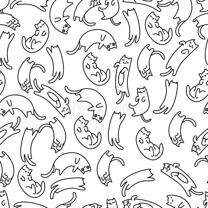 Gato perezoso del modelo inconsútil ilustración del vector
