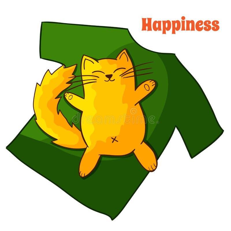 Gato perezoso divertido feliz de la historieta stock de ilustración