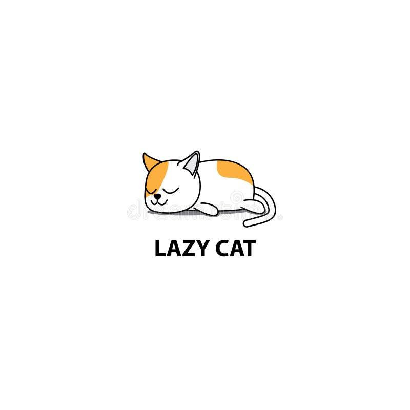 Gato perezoso, icono gordo el dormir del gatito, diseño del logotipo ilustración del vector