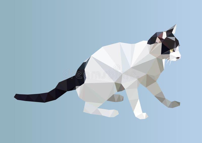 Gato poligonal animal geométrico del triángulo del polígono Vector ilustración del vector