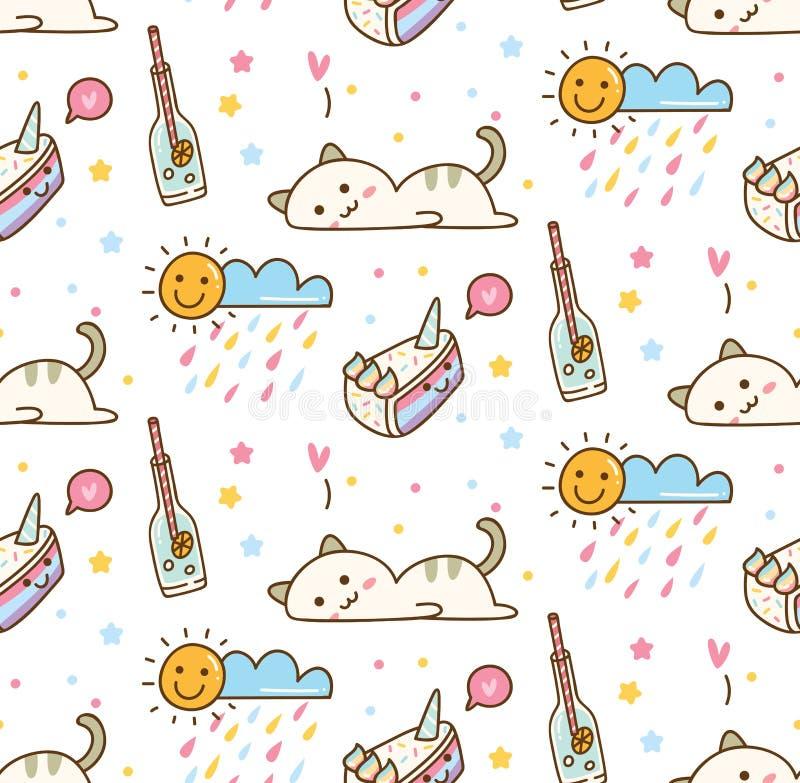 Gato preguiçoso bonito com fundo sem emenda do bolo ilustração stock