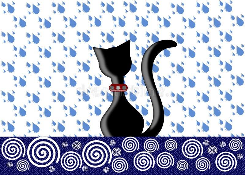 Gato preto ilustração royalty free
