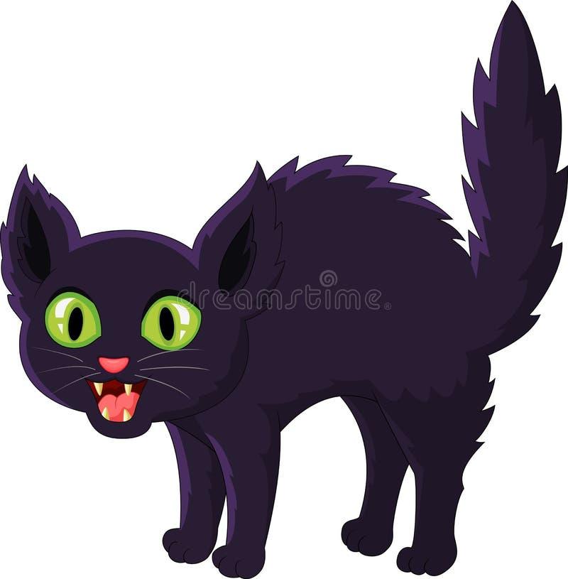 Gato preto amedrontado dos desenhos animados ilustração do vetor