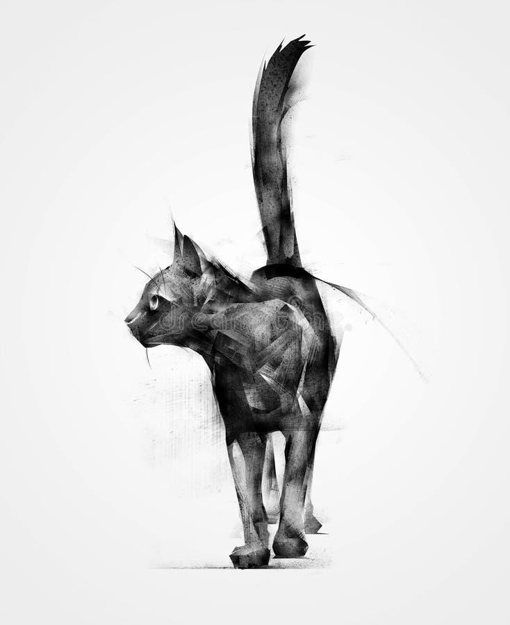Gato preto animal isolado tirado ilustração do vetor