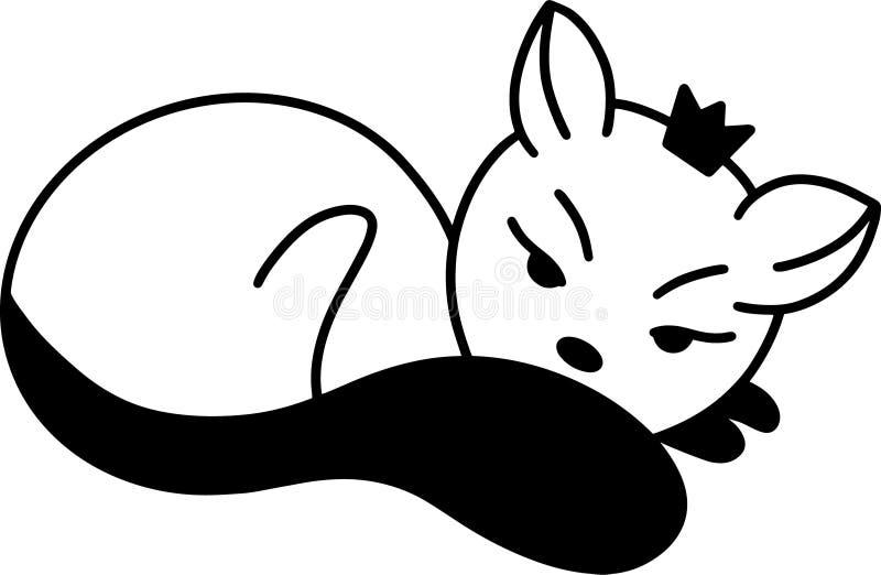 Gato preto bonito com vetor da coroa no fundo branco para artes finalas de matéria têxtil, livros de crianças, cópias, cartões ilustração royalty free