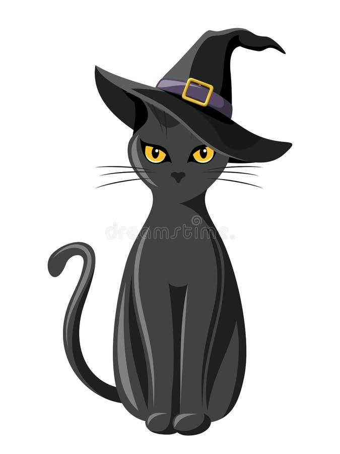 Gato preto com chapéu das bruxas. ilustração do vetor