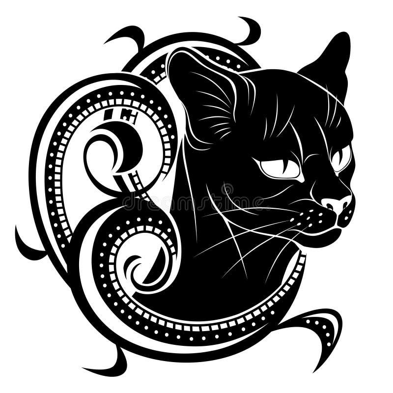 Gato preto com decoração floral ilustração stock