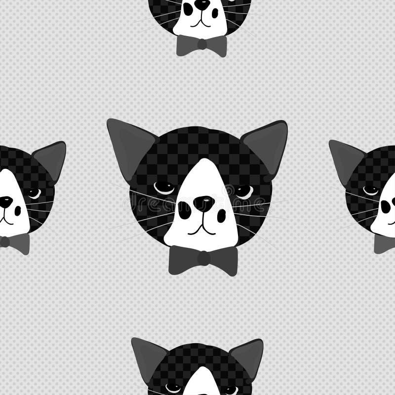Gato preto com a fita em Gray Background ilustração stock
