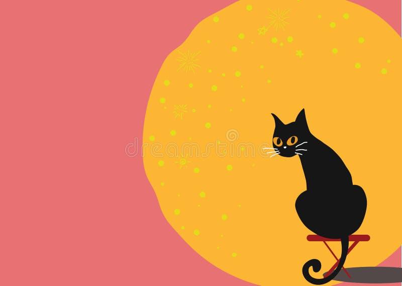 Gato preto com a lua no fundo cor-de-rosa ilustração do vetor