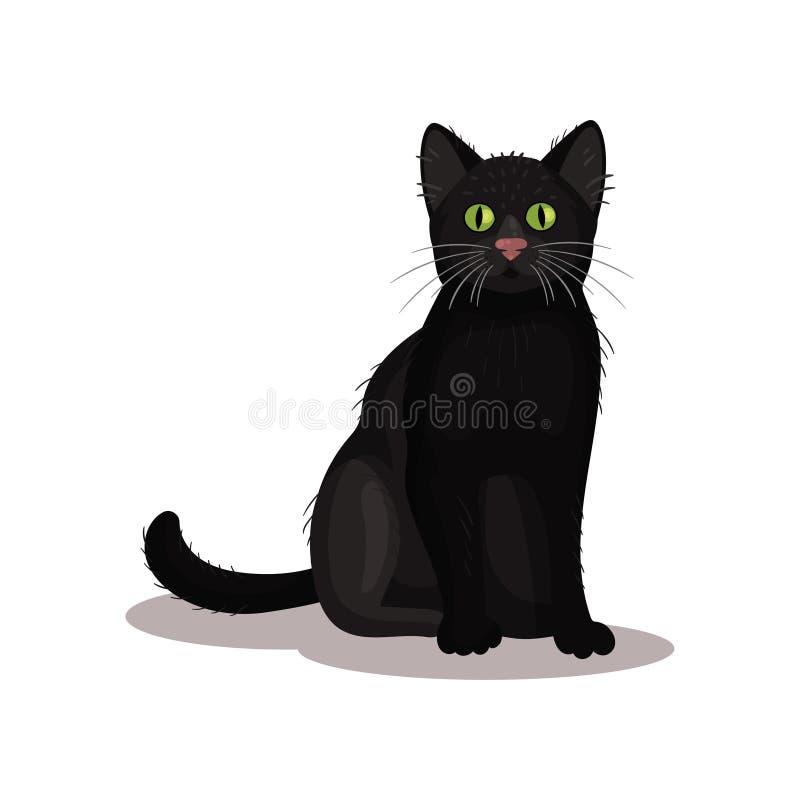 Gato preto com olhos verde-claro Animal de estimação home Animal doméstico pequeno Vetor liso para o livro sobre a adivinhação ou ilustração stock