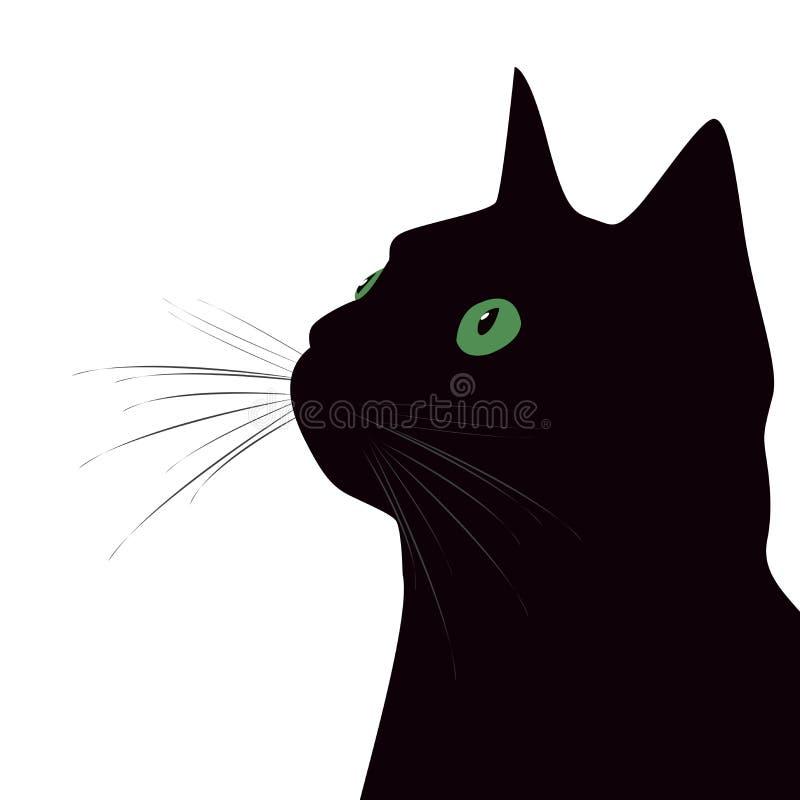 Gato preto com os olhos verdes no fundo branco ilustração stock