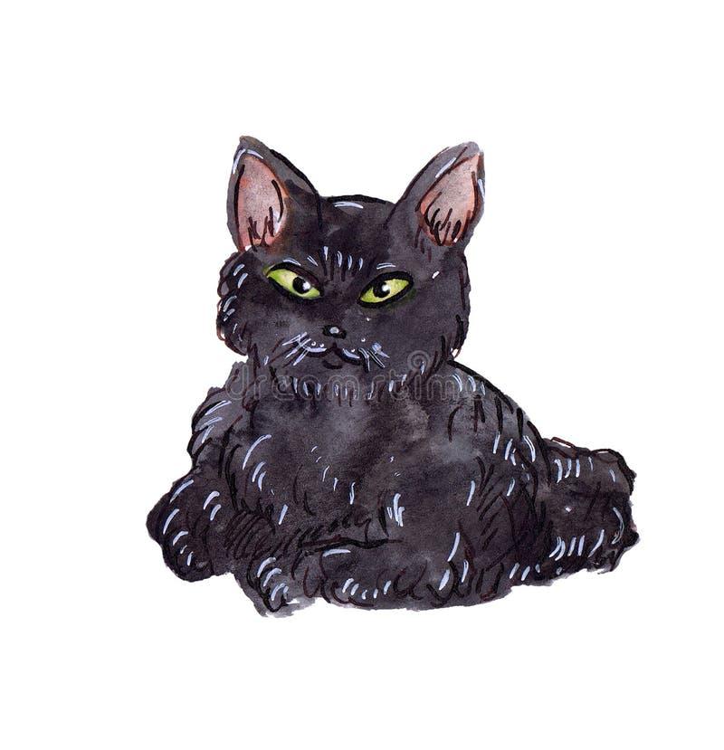 Gato preto da aguarela ilustração stock