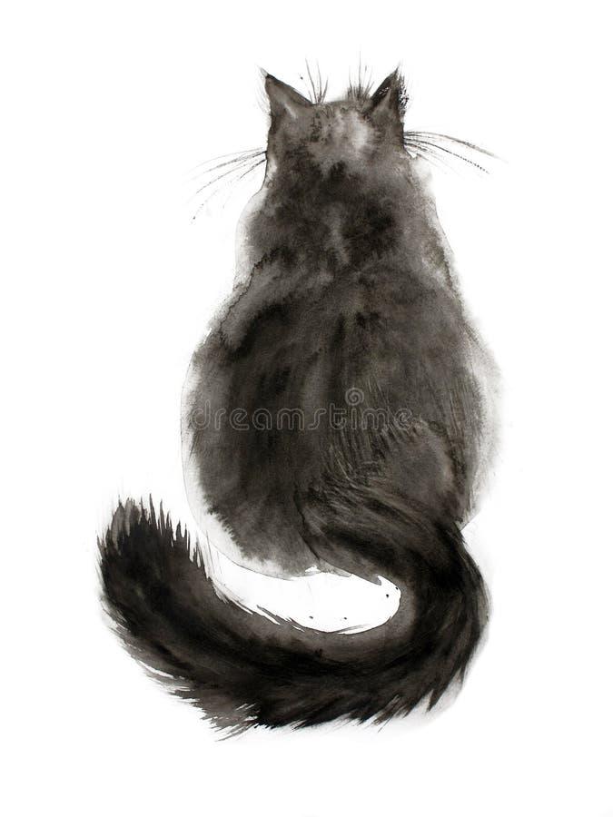 Gato preto da aguarela ilustração royalty free