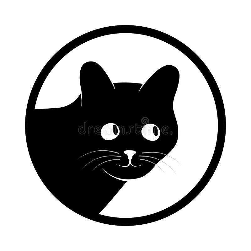 Gato preto da cabeça do sinal no círculo ilustração royalty free