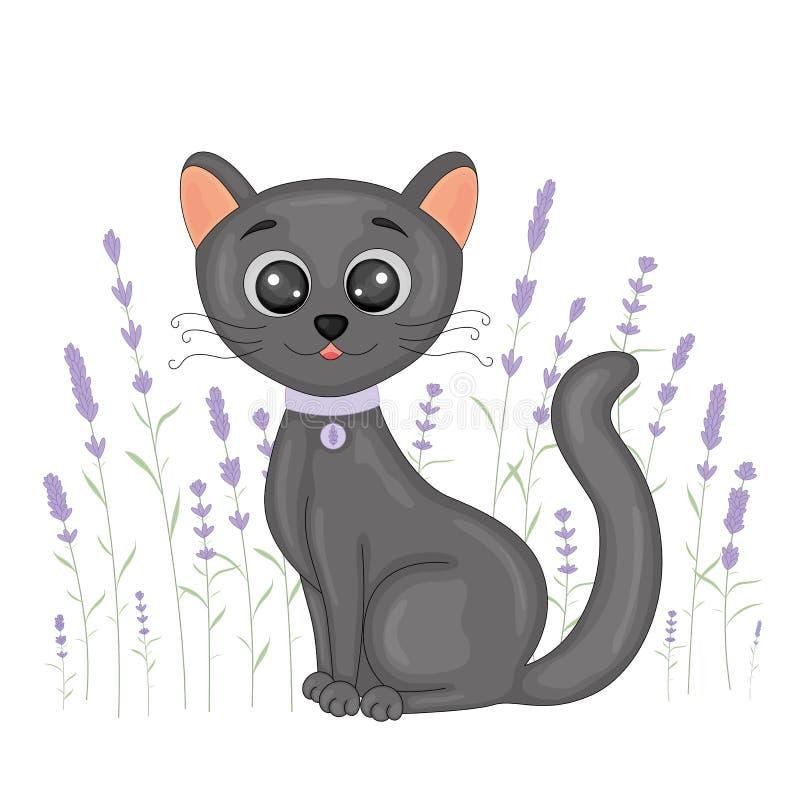 Gato preto dos desenhos animados bonitos no fundo floral da alfazema Cartão com o gatinho home com pés pretos e os olhos grandes  ilustração royalty free