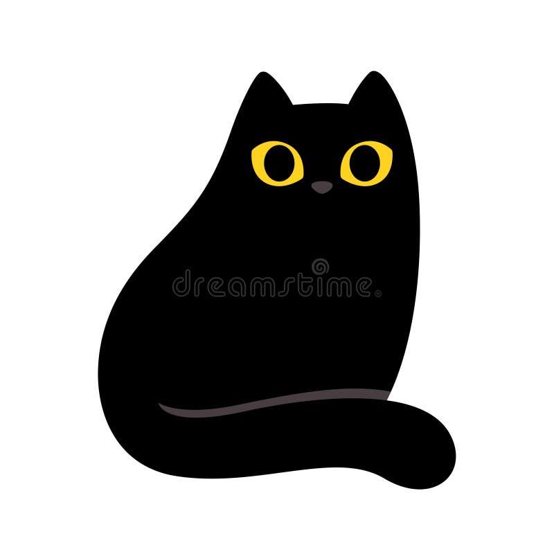 Gato preto dos desenhos animados ilustração stock