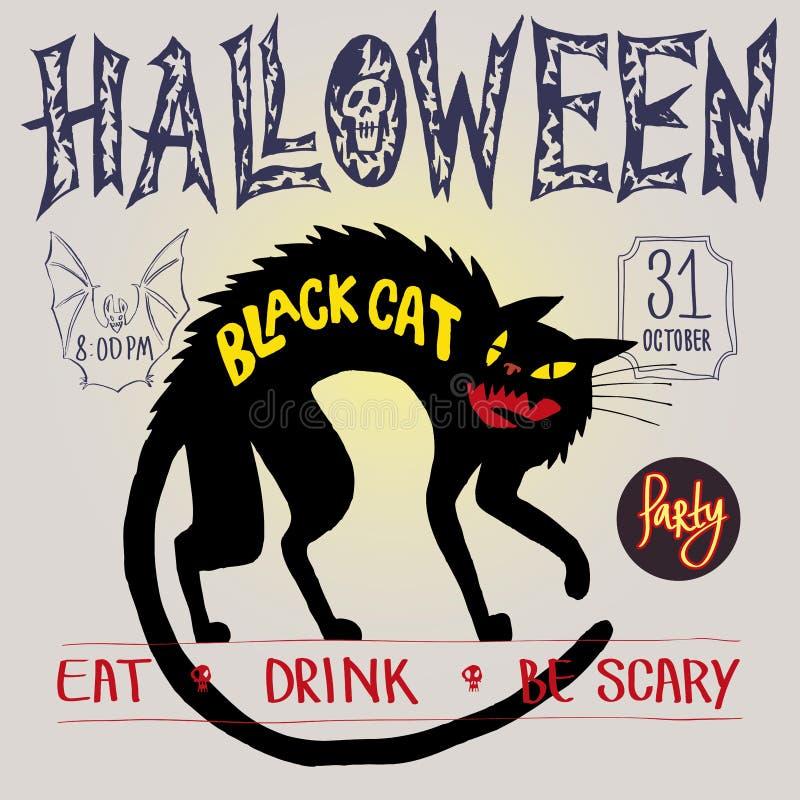 Gato preto e bastão Colora a imagem, convite do partido, o Dia das Bruxas, inseto, cartaz, bandeira, pacote ilustração royalty free