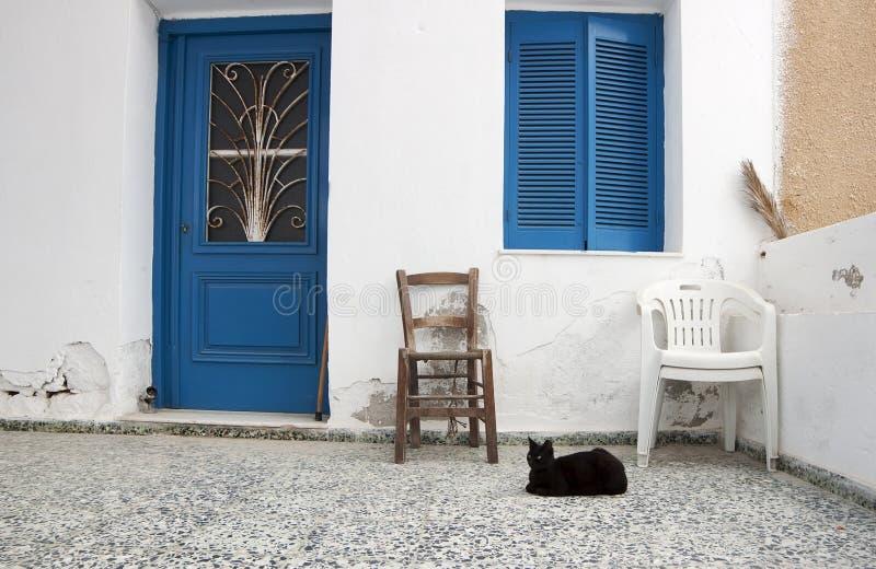Gato preto e casa fotografia de stock