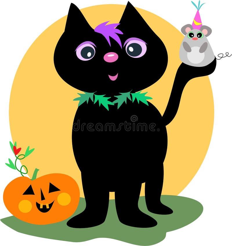 Gato preto e rato felizes de Halloween ilustração royalty free