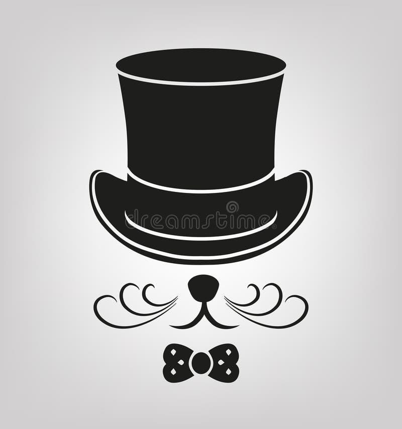 Gato preto em um chapéu ilustração stock
