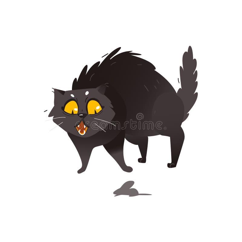 Gato preto gordo macio bonito assustado do rato pequeno ilustração royalty free