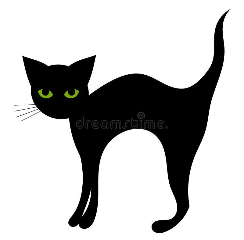 Gato preto isolado ilustração stock
