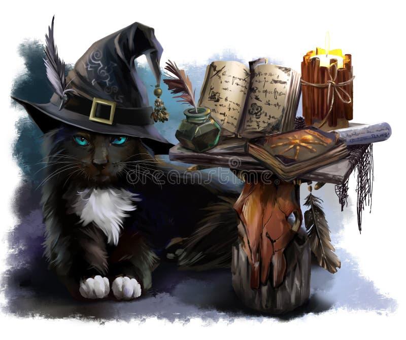 Gato preto mágico ilustração stock