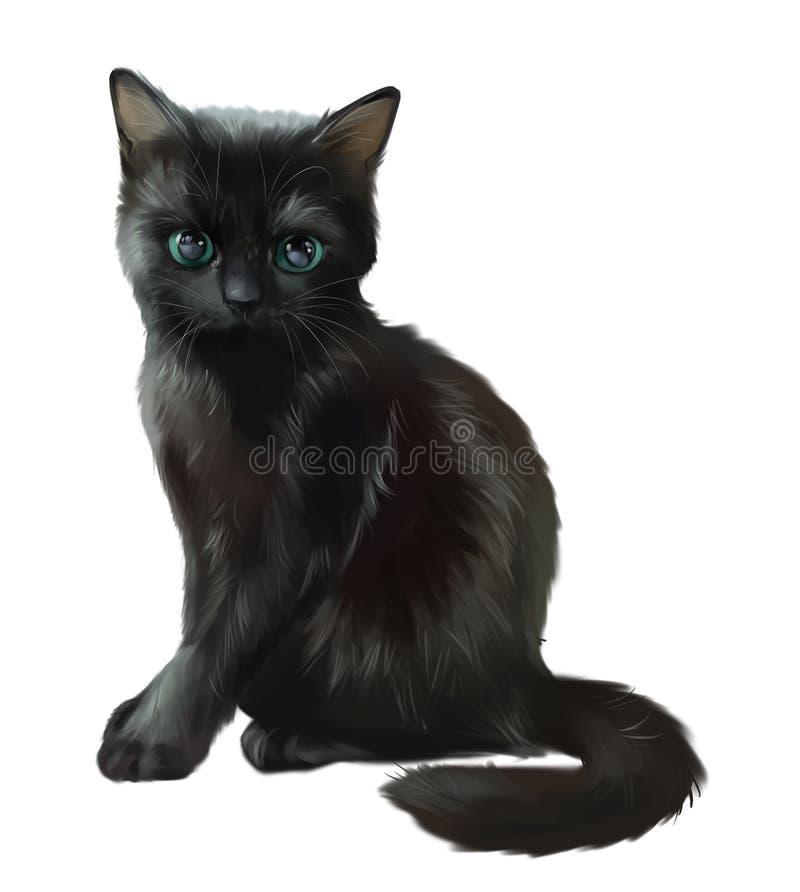 Gato preto macio Desenho da aguarela ilustração do vetor