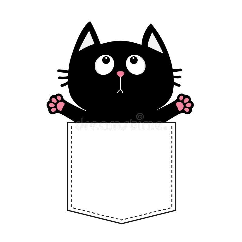 Gato preto no bolso pronto para um aperto Projeto do t-shirt Cópia aberta da pata da mão Vaquinha que alcança para um abraço Cart ilustração do vetor