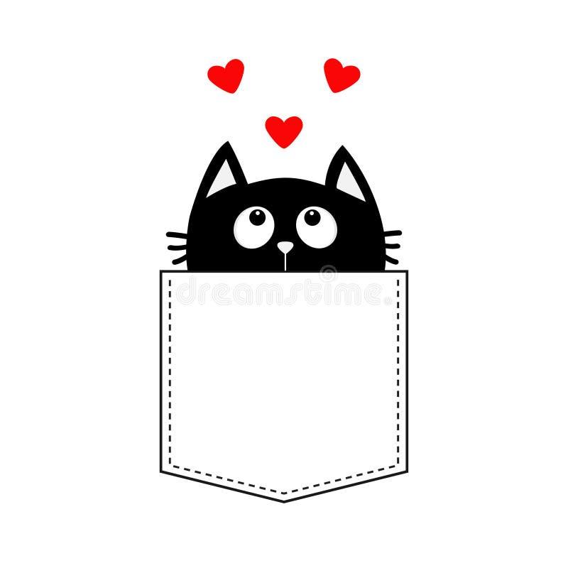 Gato preto no bolso que olha acima ao grupo do coração de três vermelhos Projeto do t-shirt Personagem de banda desenhada bonito  ilustração stock