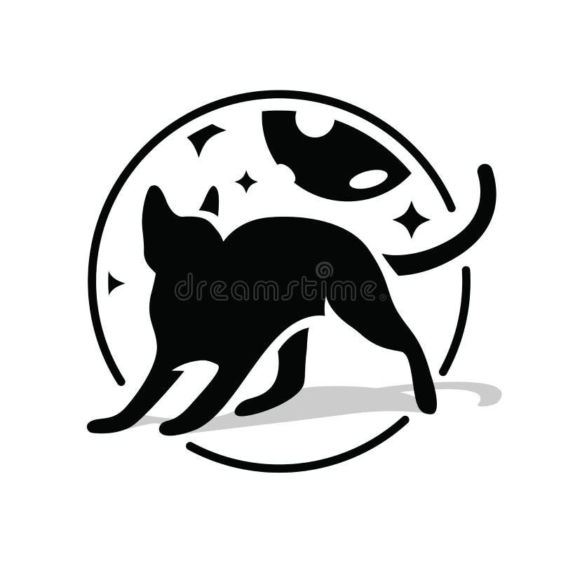 Gato preto no círculo no céu noturno, nas estrelas e na lua Mostre em silhueta o gato preto no fundo branco, ideia para o estilo  ilustração do vetor
