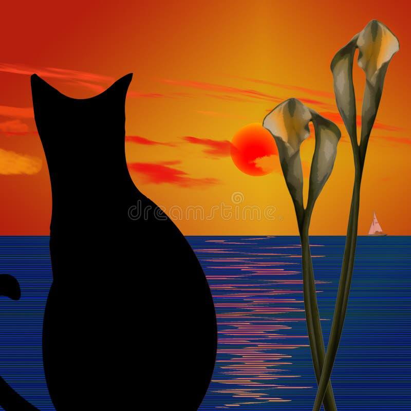 Gato preto ilustração stock