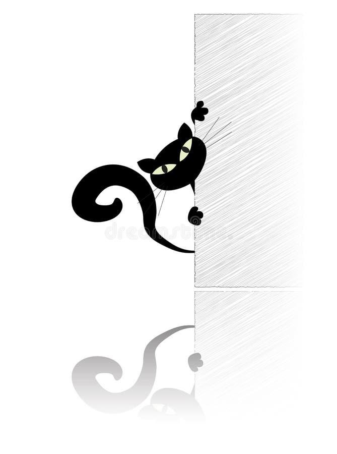 Gato preto que behing a parede ilustração royalty free