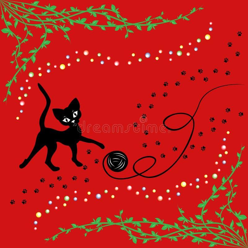 Gato preto que joga com a bola do fio ilustração stock