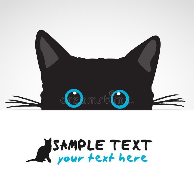 Gato preto que olha acima da bandeira ilustração royalty free