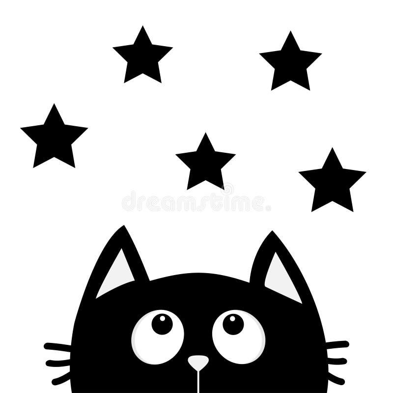 Gato preto que olha acima para star a forma Eu amo gatos Caráter engraçado dos desenhos animados bonitos Animal de Kawaii Ame o c ilustração stock