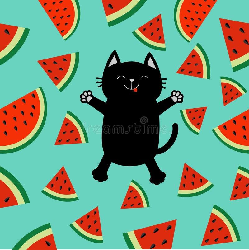 Gato preto que salta ou que faz o anjo da neve Corte do ícone da fatia da melancia com corte do fruto do triângulo da semente Olá ilustração do vetor