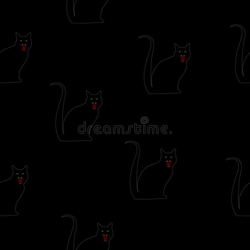 Gato preto 13a sexta-feira do teste padrão sem emenda no preto ilustração royalty free