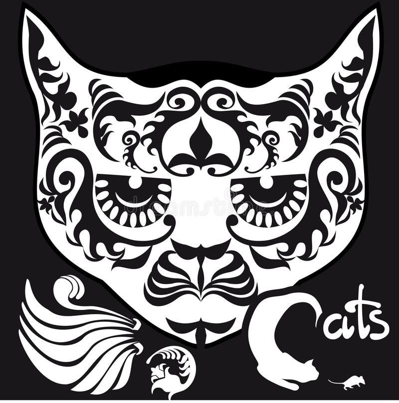 Gato principal modelado preto e branco estilizado ilustração stock
