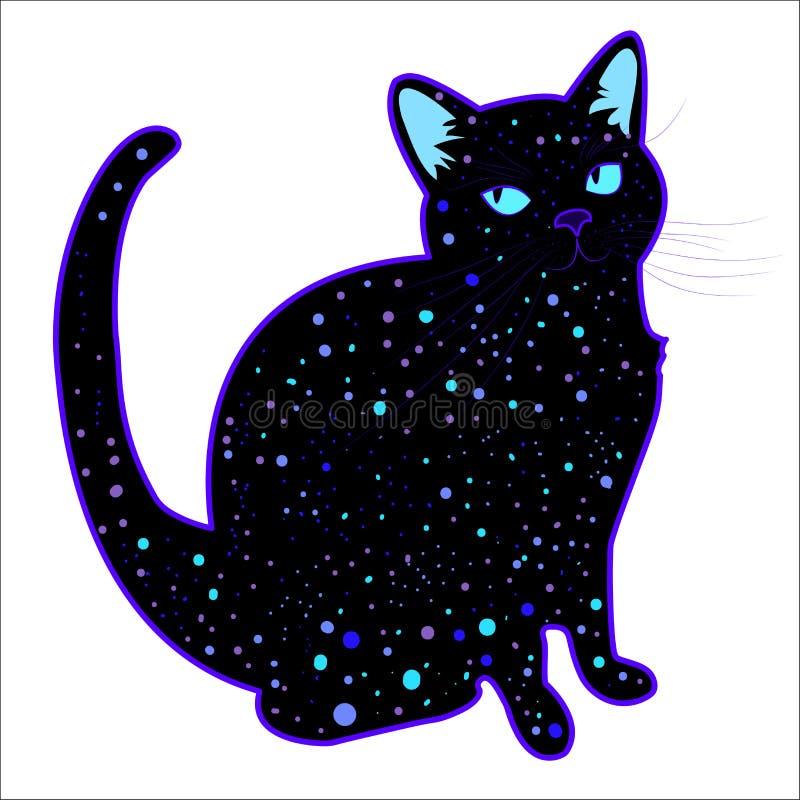 Gato psicadélico cósmico engraçado bonito da silhueta ilustração royalty free