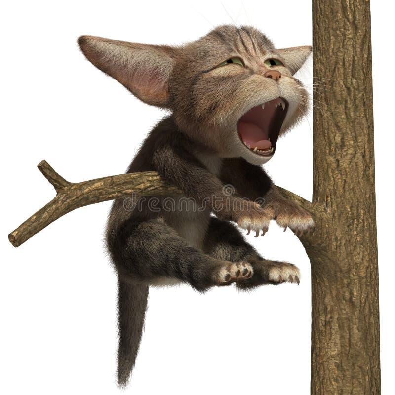 Gato que bosteza en un árbol ilustración del vector