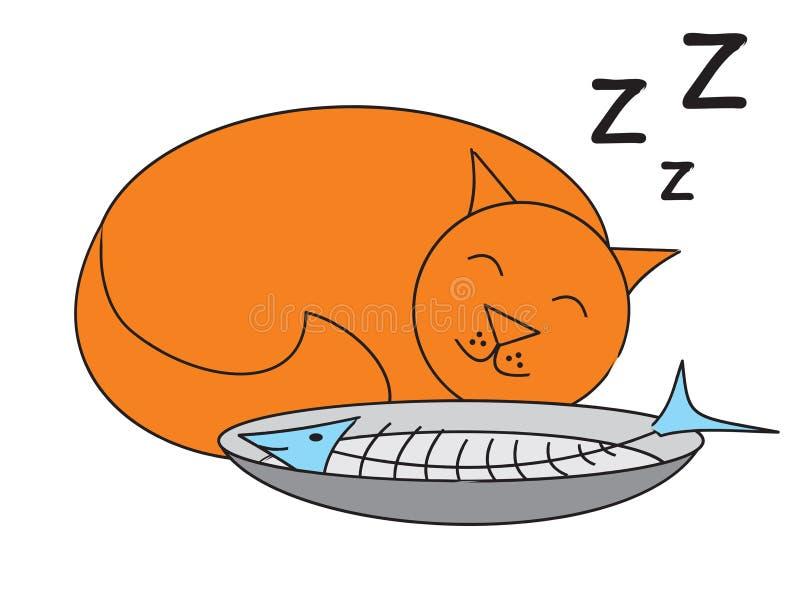 Gato que come peixes ilustração stock