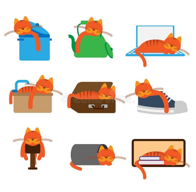 Gato que duerme en lugares inusuales ilustración del vector